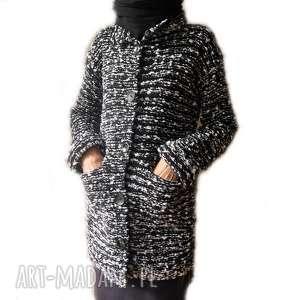 Prosty żakiet-sweter handmade melanż, sweter, żakiet, płaszcz, prosty