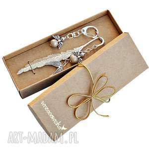 na prezent - zestaw prezentowy z zakładką anioły, zakładka, brelok