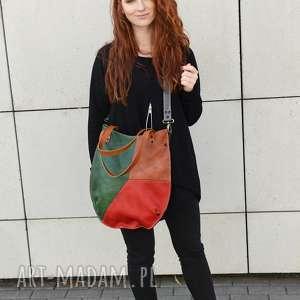 kolorowa torba, miejska torebka damska, worek-skórzany, torebka-miejska, rękodzieło