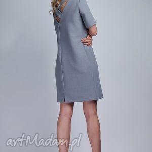 sukienki sukienka, suk118 szary, casual, kieszenie, krzyż, elegancka, komunia