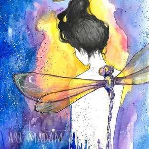 królowa czasoprzestrzeni trzepotem skrzydeł tworzy gwiazdy akwarela artystki a laube