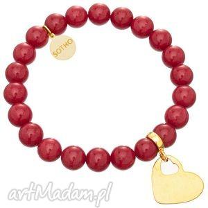 czerwona modowa bransoletka jadeit rubinowy złote serce - serduszko
