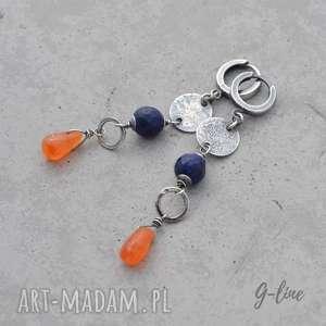 Lapis lazuli i karneol. Kolczyki boho, lapis-lazuli, srebro, wiszące,