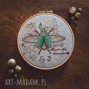 obrazek haftowany chrząszcz zapetlona nitka - zielone, żuczek