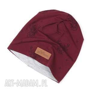 Czapka unisex beanie bordowa łosie, czapka, beanie, loś, renifer, ciepła,