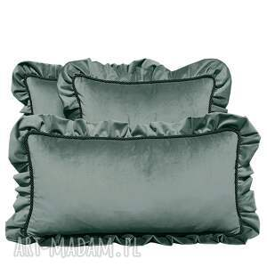 ręcznie zrobione poduszki dekoracyjne komplet 3 welur szarość od majunto