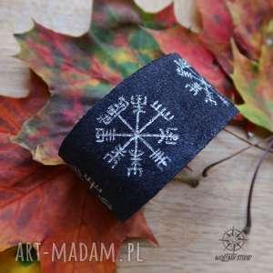 Skórzana męska bransoleta na zatrzask Vegvisir - czarna, wikingowie, runa, runy