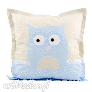 niebieska sowa - poduszka, bawełna, kropki, jasiek, koronka, sowa