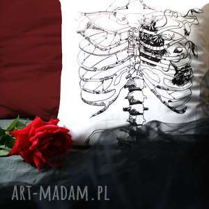Biała poszewka ze szkieletem Szkielet Puszczy, halloween, ze-szkieletem