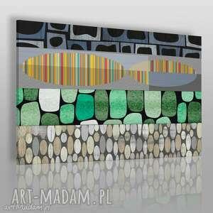 obraz na płótnie - abstrakcja kształty zieleń 120x80 cm 30001, kształty, kolory