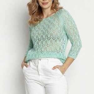 dzianinowa bluzka - swe182 mięta mkm, cienki sweterek, sweter na lato, ażurowy