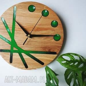 zegar z drewna dębowego luppiter zielony - żywica epoksydowa, dąb, ścienny