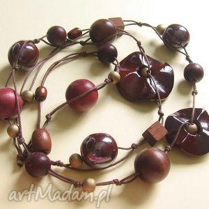 Chocolat - długie korale, długie, drewno, ceramika, naszyjnik