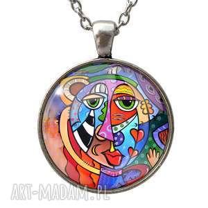 Kubistyczna sztuka - Duży medalion z łańcuszkiem