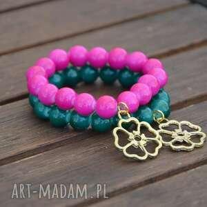 bransoletki bracelet by sis złoty kwiat w zielonych koralach, kwiat, korale