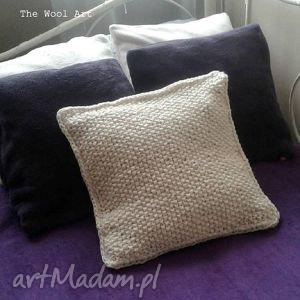 poduszki dziergana poszewka, poduszka, łóżko, dom, ecru