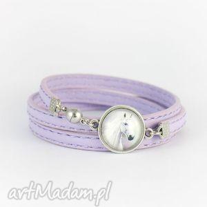 bransoletka - biały koń owijana, lila, pastelowa, bransoletka