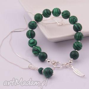 zielony komplet z malachitu 3 - naszyjnik, mallachit, srebro
