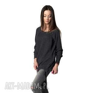 oryginalny prezent, sweter comfort 1 grafit, sweter, tunika, długi, grafitowy