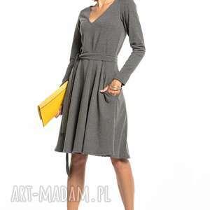 sukienka rozkloszowana z dekoltem v, t323, szara, elegancka, sukienka, góra