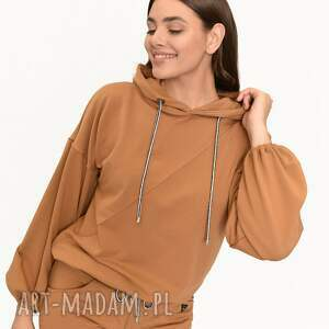bluzy bluza poczuj wygodę karmel, bluza, sukienki, marynarka, spodnie, komplety
