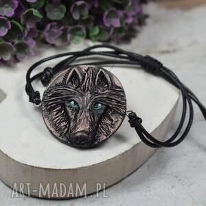 bransoletka wilk w odcieniach brązu, wilk, z wilkiem