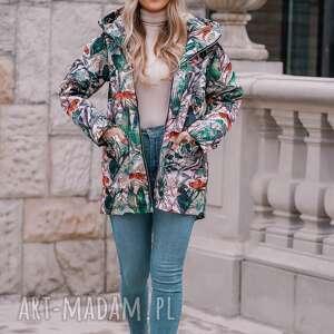 Jesienny płaszcz przeciwdeszczowy, ocieplony w gepardy, parka