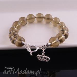 zadymione bransoletka - kryształ, brązowa górski, srebro