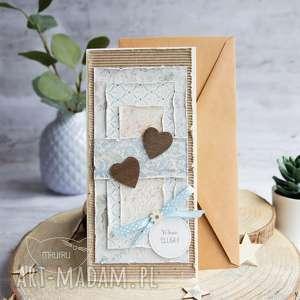 scrapbooking kartki kartka na ślub z serduszkami personalizowana, warstwowa