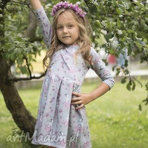 Sukienka NIKOL 116/122, sukienka, elf, ekologiczna, dzianina, szare, księżniczka