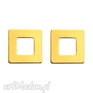 powiększ do pełnego rozmiaru new złote kolczyki kwadraciki