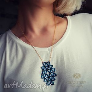 wisior geometryczny capri blue, naszyjnik, koraliki, rurki