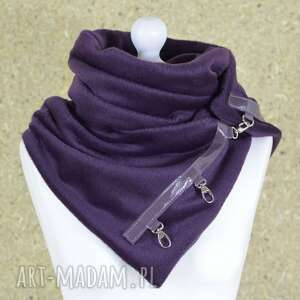 szal wełniany ze skórą - fioletowy ciepły zimowy szalik, skórzane zapinki