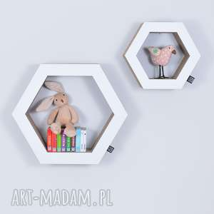 Półka na książki zabawki HEXAGON ecoono | biały, półka, chłopiec, dziewczynka