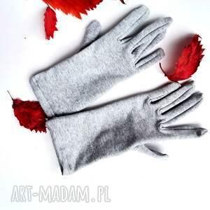 hand made rękawiczki rekawiczki szare dzianina krótkie one size