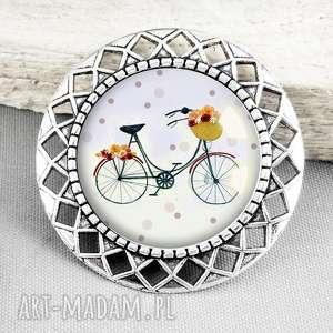 retro bike Śliczna broszka z rowerem w szkle - podarunek, rower, hobby, stylowa