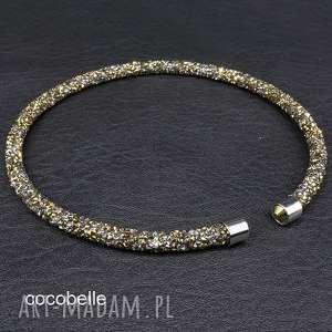 galaxy - naszyjnik z krysztalków/ grafit-złoto, choker, krótki, obróżka