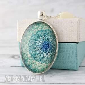 pomysły na upominki świąteczne Turkusowa Mandala - szklany medalion etno, mendele
