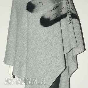 Ponczo wełną zdobione poncho feltrisimi prezent, urodziny, ważki
