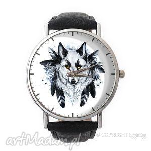 wilk - skórzany zegarek z dużą tarczą - zegarek, skórzany, wilk
