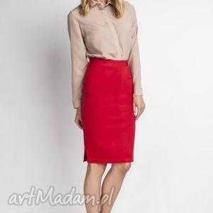 Klasyczna spódnica, SP112 czerwony, elegancka, ołówkowa, kobieca, obcisła, czerwona,