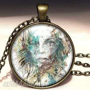 sztuka nowoczesna - duży medalion z łańcuszkiem - artystyczny