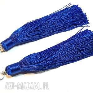 długie klipsy niebieskie frędzle boho, klipsy, długie, frędzle, lekkie, etno