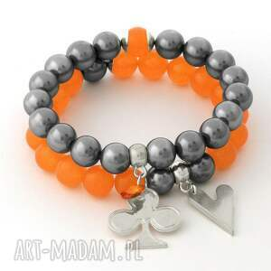 orange jade & steel pearl set - majorka, jadeit trefl, serce