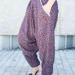 spodnie kolorowe alladynki w łączkę, alladynki, bawełniane, floral