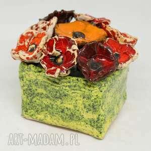 kwiaty ceramiczne piękny duży wyjątkowy komplet z boxem handmade rozmiar s
