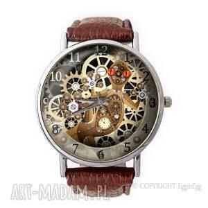mechaniczna jaszczurka - skórzany zegarek z dużą tarczą - zegarek