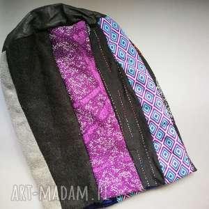 czapka damska dzianina tkanina patchwork - czapka, etno, boho, orient, dresowa, długa