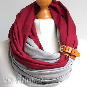 kominy jesienny bordowo szary komin tuba z zapinką, bawełna, zapinka