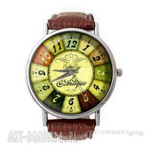 ruletka - skórzany zegarek z dużą tarczą, zegarek, skórzany, ruletka, vintage, retro
